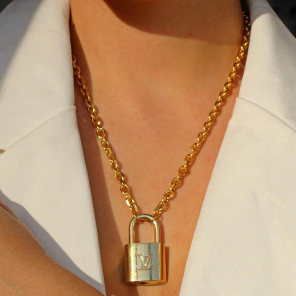 Necklace Padlock with Key Set Lock brass