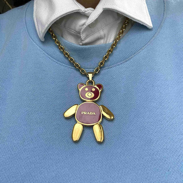 Big Authentic Prada Bear Reworked Necklace - Boutique SecondLife