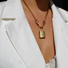 Load image into Gallery viewer, Padlock with Key Necklace with cuban chain