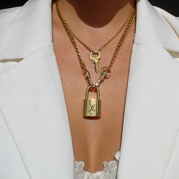 Louis Vuitton Padlock Necklace with double chains