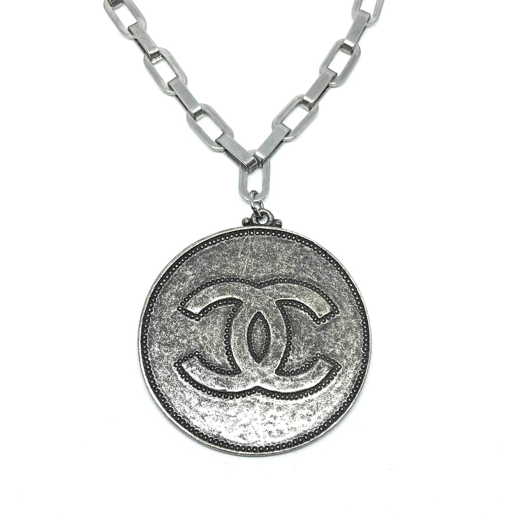Authentic Chanel Big Round Pendant CC Repurposed Long Necklace