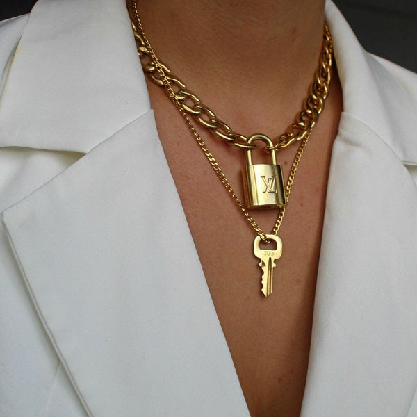 Louis Vuitton Padlock Necklace with Double Chain