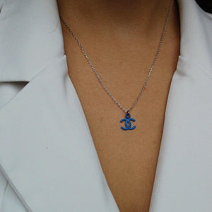 Gift Edition - Authentic Chanel Re-worked blue pendant Necklace