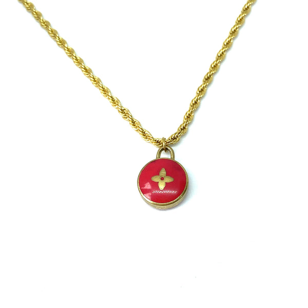 Authentic Louis Vuitton Red Pendant- Necklace