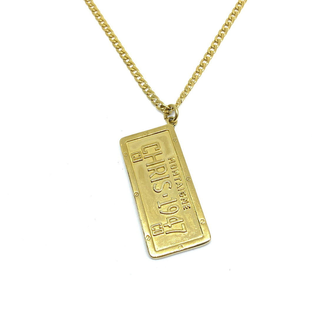 Authentic Christian Dior Pendant Tag-Necklace