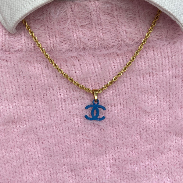 Authentic Chanel CC Re-worked blue pendant Necklace
