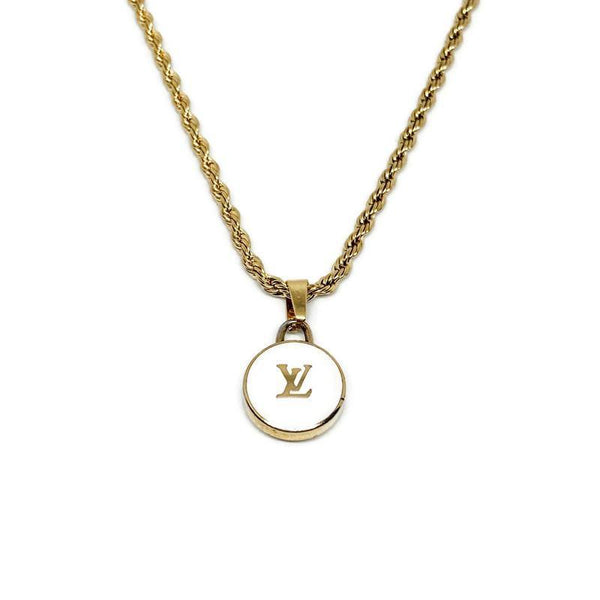 Authentic Louis Vuitton Logo White Pendant- Necklace - Boutique SecondLife
