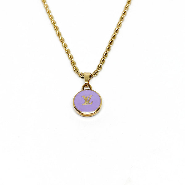 Authentic Louis Vuitton Logo Purple Pendant- Necklace - Boutique SecondLife