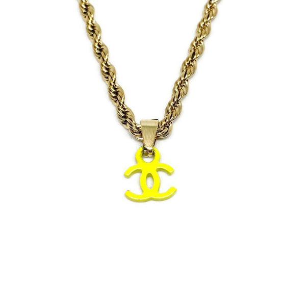 Authentic Neon Yellow Chanel CC pendant Re-purposed Necklace - Boutique SecondLife
