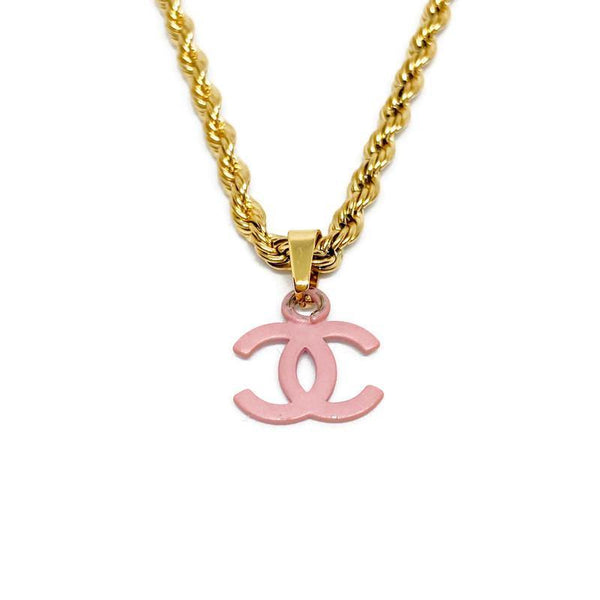 Authentic Chanel CC pendant Re-purposed pink Necklace - Boutique SecondLife