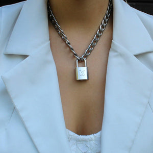 Authentic Louis Vuitton Necklace Silver Padlock NO KEY - Boutique SecondLife