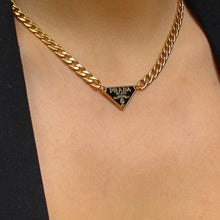 Load image into Gallery viewer, Repurposed Authentic Prada Black tag - Necklace