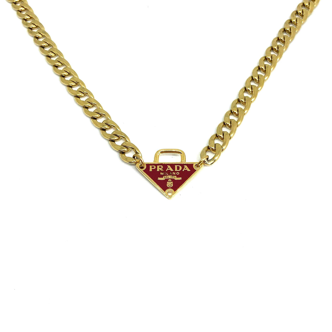 Repurposed Authentic Prada Red tag Special Edition - Necklace