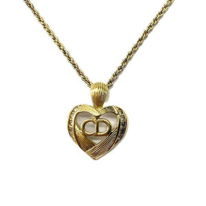 Authentic Christian Dior 'CD' Heart Pendant  -Necklace - Boutique SecondLife