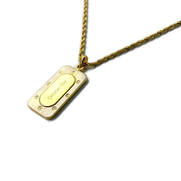 Authentic Christian Dior Tag Bicolor Pendant  -Necklace