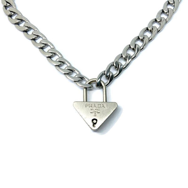 Authentic Prada Triangle Padlock-Necklace