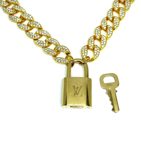 Louis Vuitton Padlock with Rhinestone 'Hip Hop' Necklace
