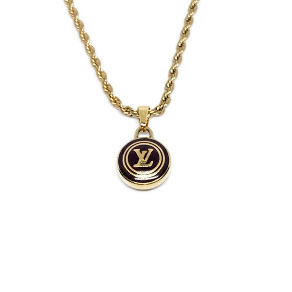 Authentic Louis Vuitton Logo Pastilles Pendant Necklace