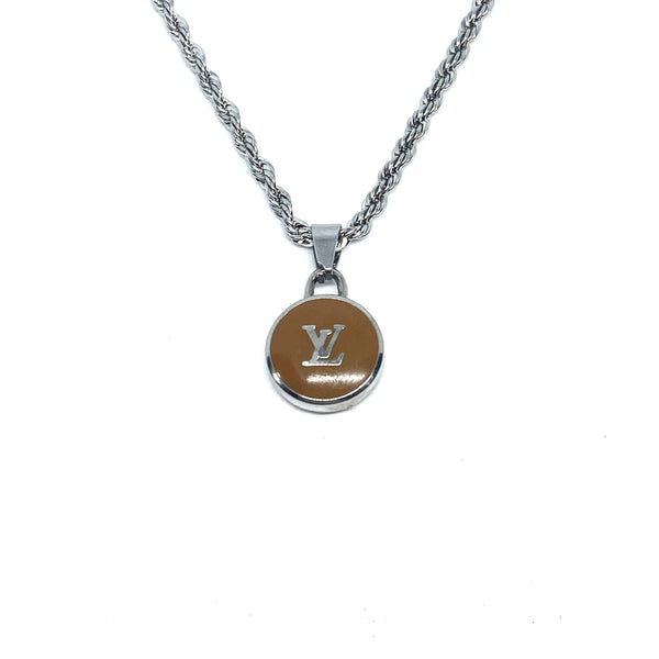 Authentic Louis Vuitton Logo Khaki pendant- Necklace