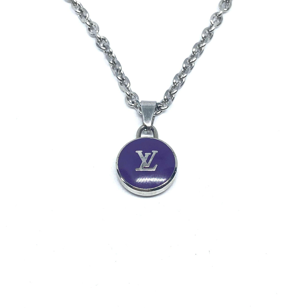 Authentic Louis Vuitton Logo Purple Pendant - Reworked Necklace