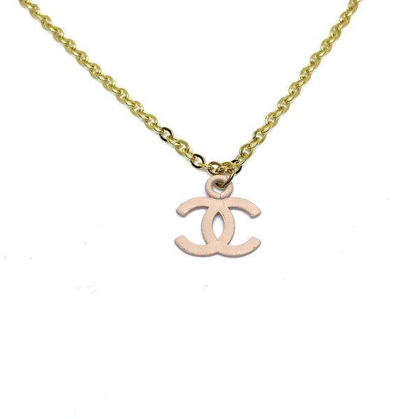 Authentic Chanel CC Re-purposed Baby pink Necklace
