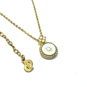 Authentic Christian Dior round White Vintage Necklace - Boutique SecondLife
