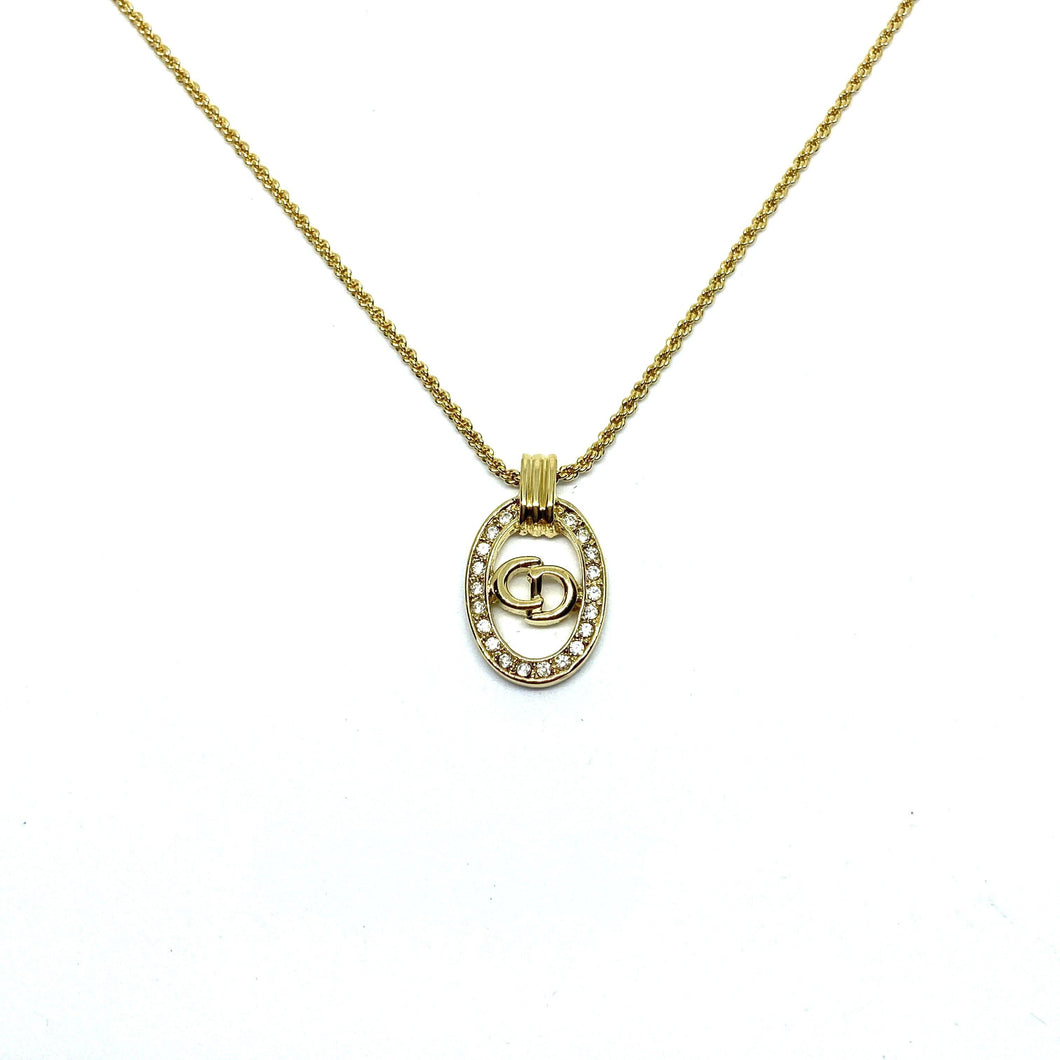 Authentic Christian Dior round Rhinestone Vintage Necklace