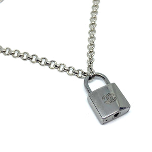 Authentic Chanel Silver Padlock-Necklace - Boutique SecondLife
