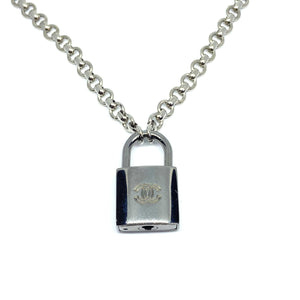 Authentic Chanel Silver Padlock-Necklace