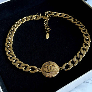 Gift Edition - Authentic Chanel Pendant Repurposed Choker Necklace - Boutique SecondLife