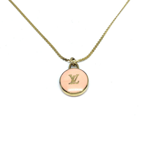 Authentic Louis Vuitton Logo Peach Pendant- Necklace