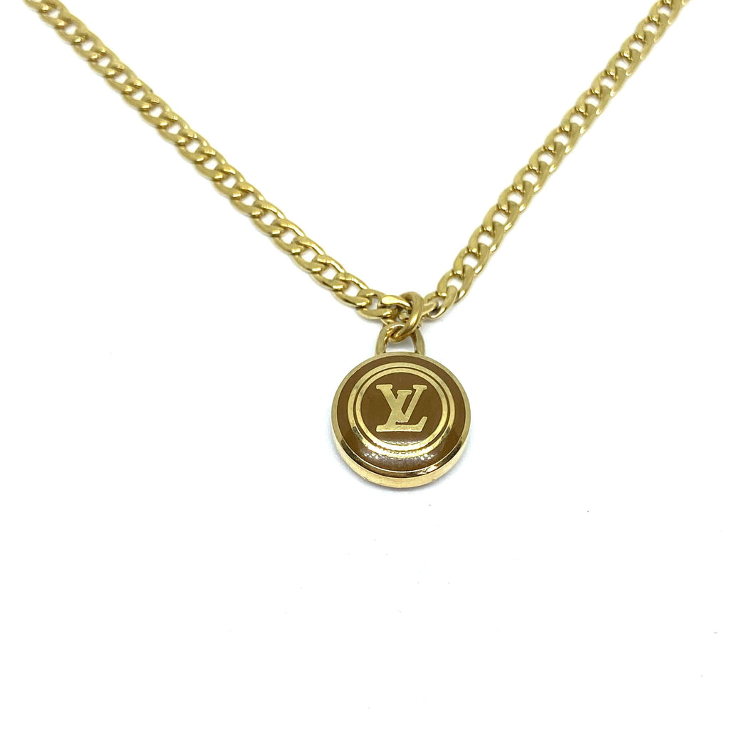Authentic Louis Vuitton Logo Sienna Pendant Necklace