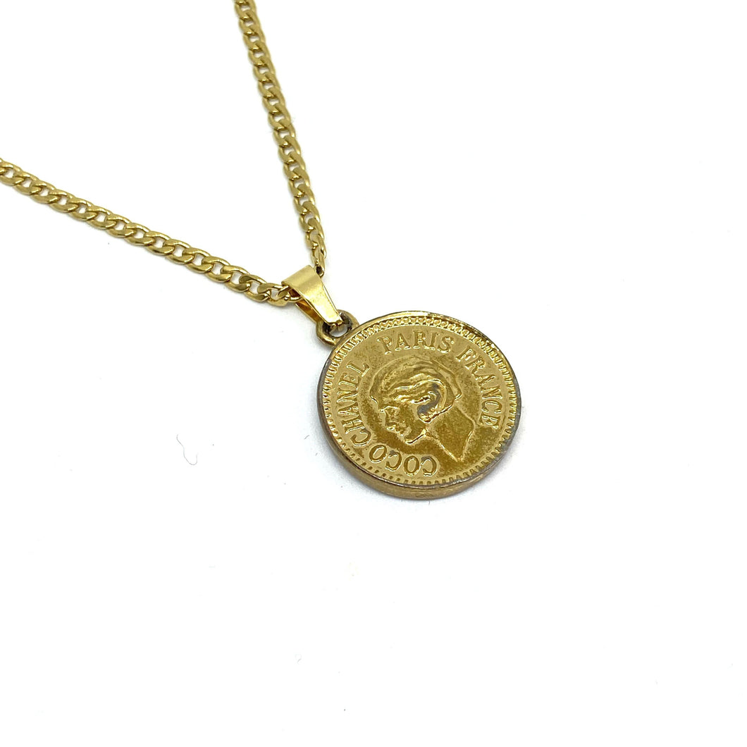 Authentic Coin Pendant- Repurposed Necklace From Bracelet - Boutique SecondLife