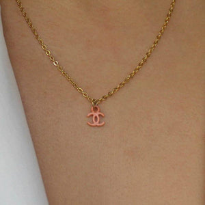 Authentic Coral Chanel CC pendant Re-purposed Necklace