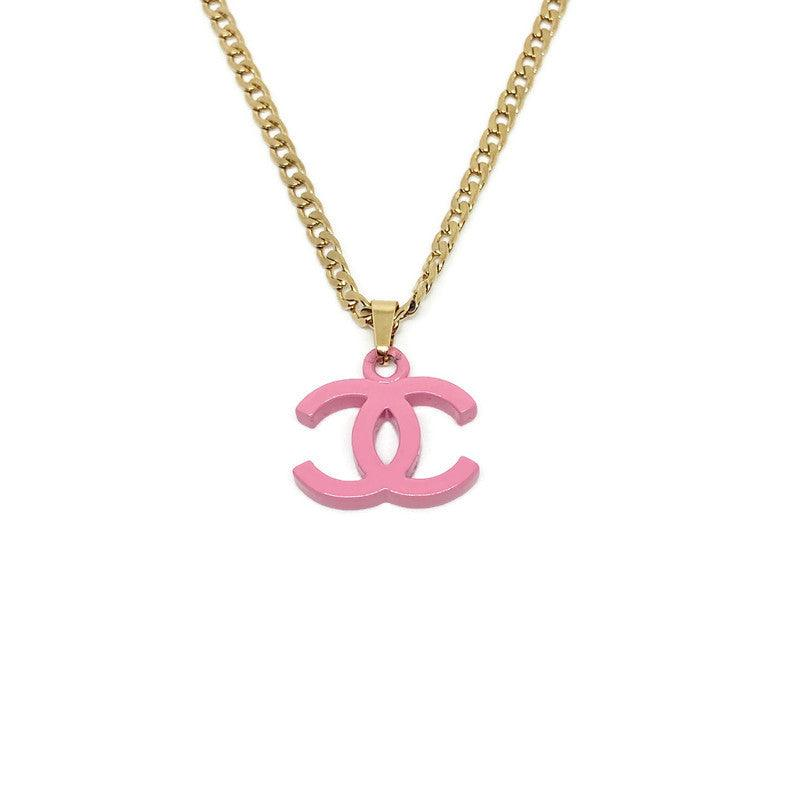 Authentic Medium Chanel Pink CC Repurposed - Necklace