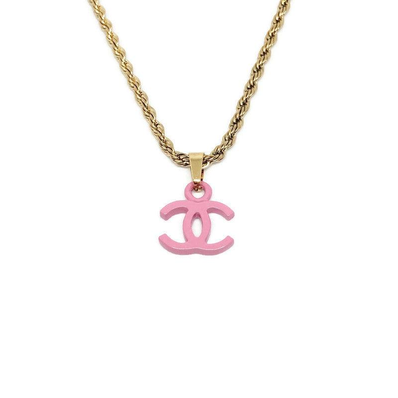 Authentic Small Chanel Pink CC Repurposed - Necklace