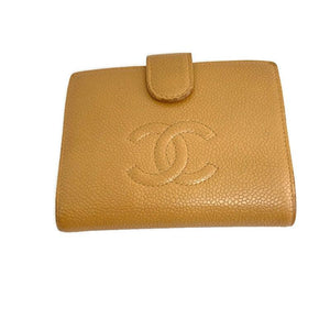 Authentic Preowned Chanel  Beige Caviar Skin Wallet Repurposed Mini Bag