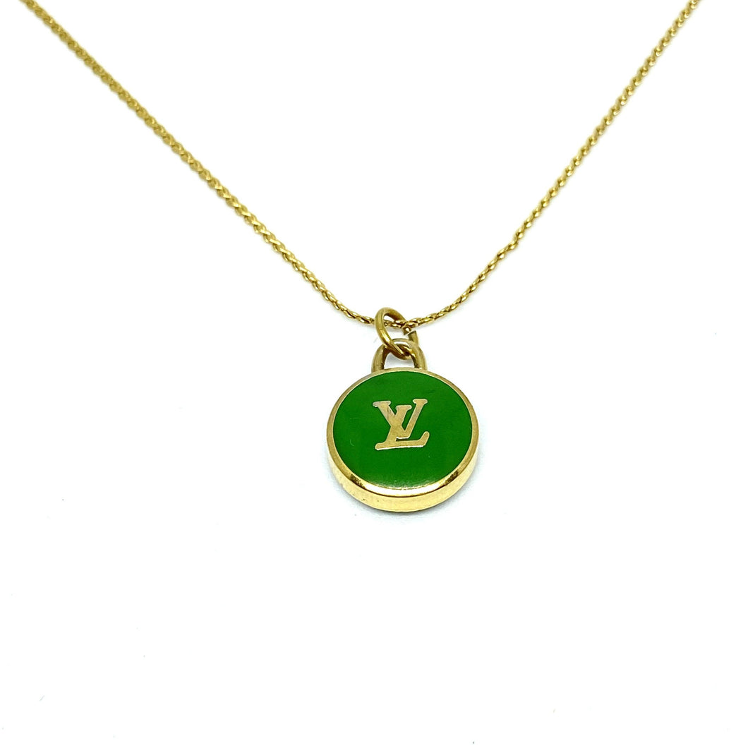 Authentic Louis Vuitton Logo Green Pendant- Necklace