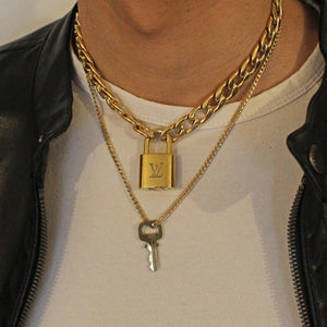 Louis Vuitton Padlock Necklace with Double Chain For Him