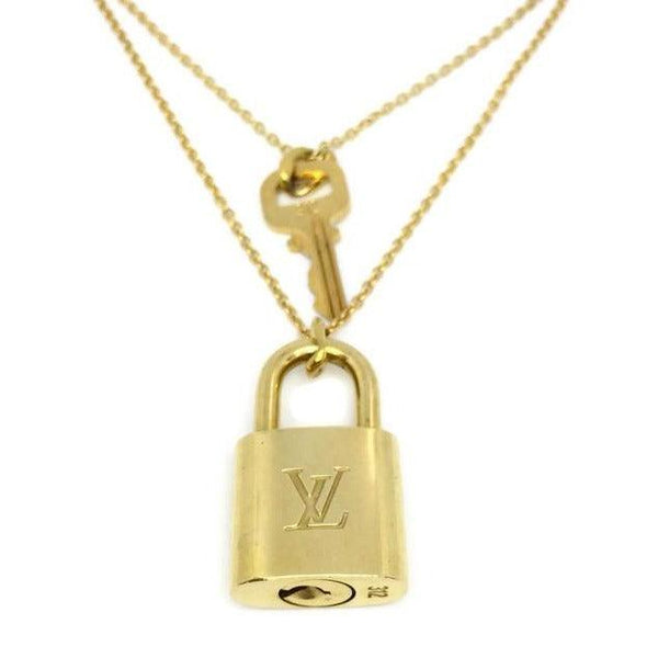 Louis Vuitton Padlock Necklace with Double Layer Chain