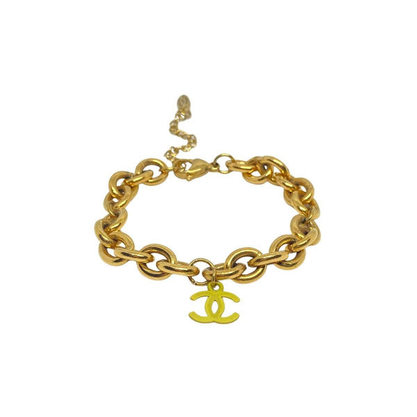 Authentic Chanel CC Re-worked Light Lime Pendant Bracelet