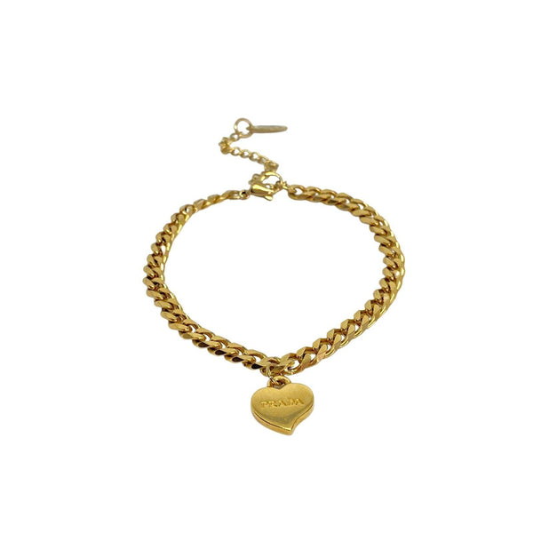Repurposed Authentic Prada Mini Heart - Bracelet