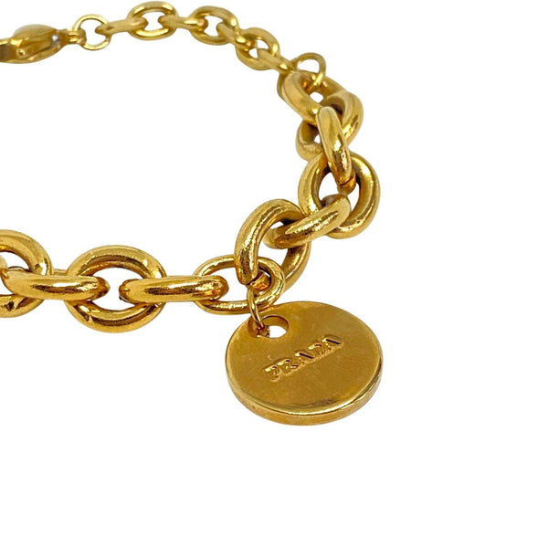 Repurposed Authentic Prada Mini circle tag - Bracelet
