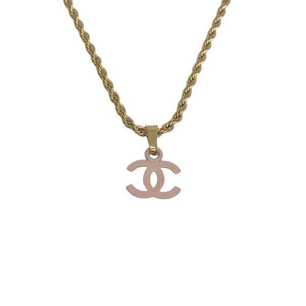 Authentic Chanel CC pendant Re-purposed Baby pink Necklace