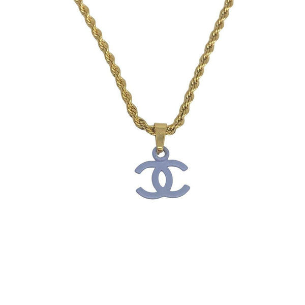 Authentic Chanel CC Re-worked Baby blue pendant Necklace