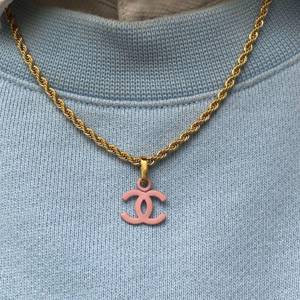 Authentic Chanel CC pendant Re-purposed pink Necklace
