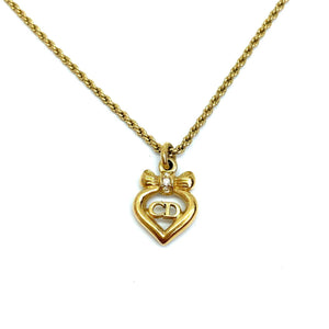 Authentic Christian Dior Bow Heart Vintage Necklace