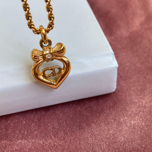 Authentic Christian Dior Bow Heart Vintage Necklace - Boutique SecondLife