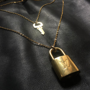 Louis Vuitton Padlock Necklace with Double Layer Chain For Him