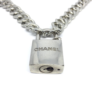 Chanel Silver Padlock Necklace